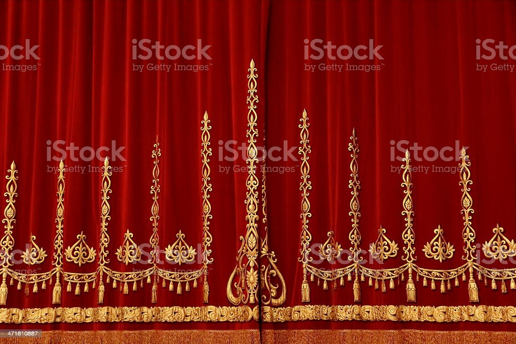 Theatrical red curtain royalty-free stock photo