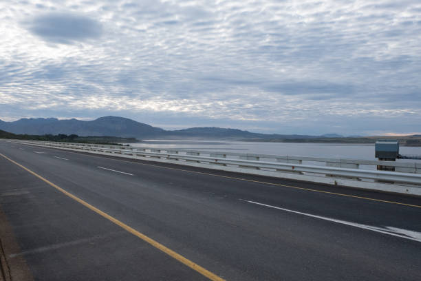 Theewaterskloof dam bridge stock photo