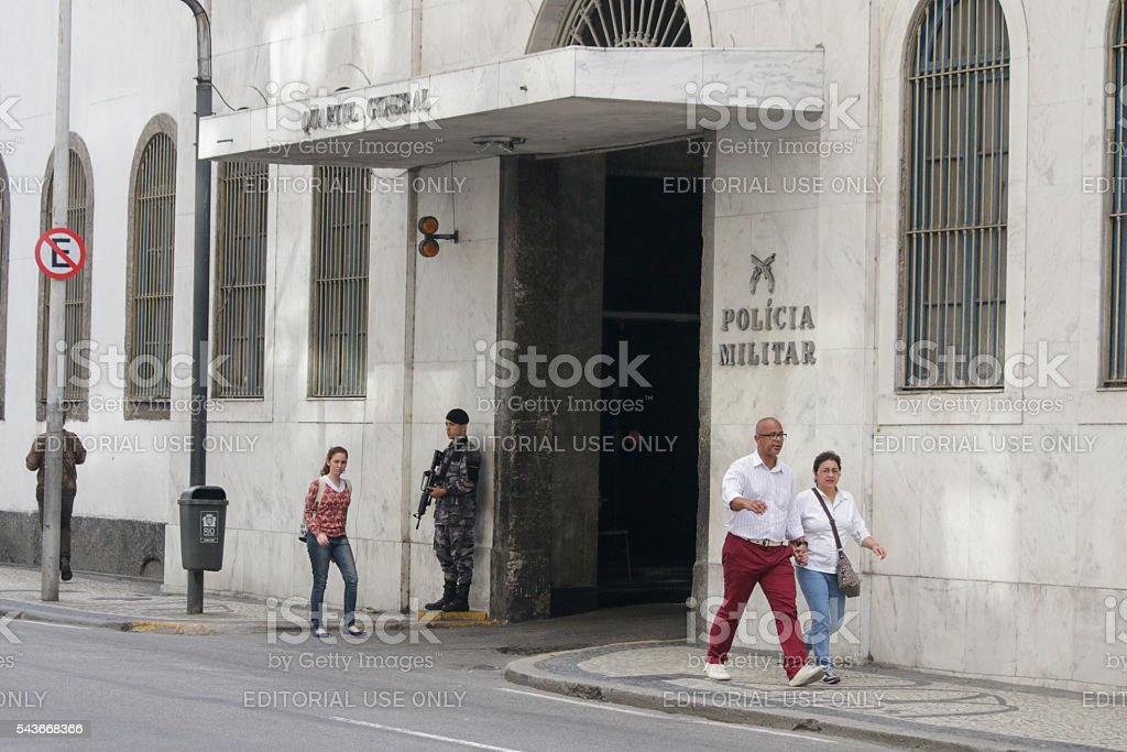 Theft of weapons in the headquarters of the Military Police stock photo