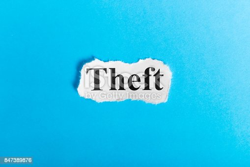 472273278 istock photo theft text on paper. Word theft on a piece of paper. Concept Image. 847389876