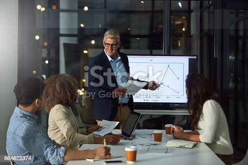 Shot of a dedicated businessman giving a presentation to his colleagues in the boardroom after hours