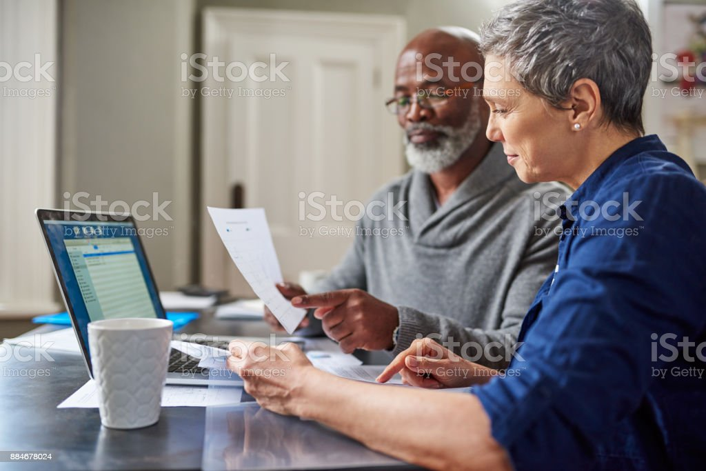 Their finances are in the green stock photo