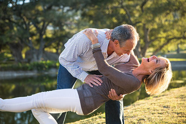 Their love keeps them young at heart! stock photo