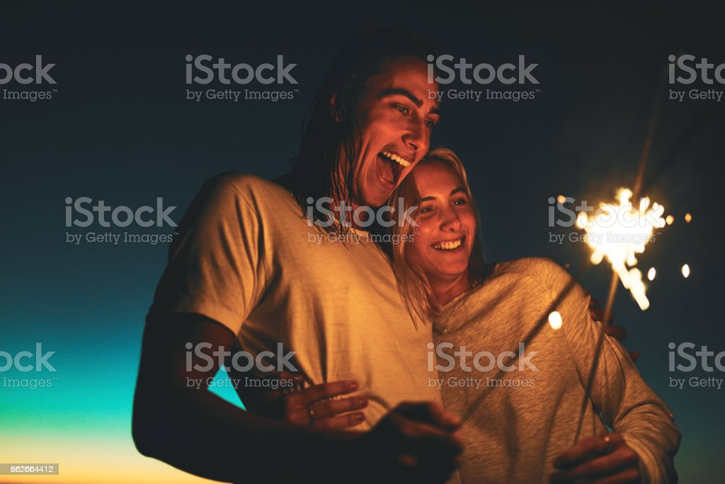 Their love shines brighter stock photo