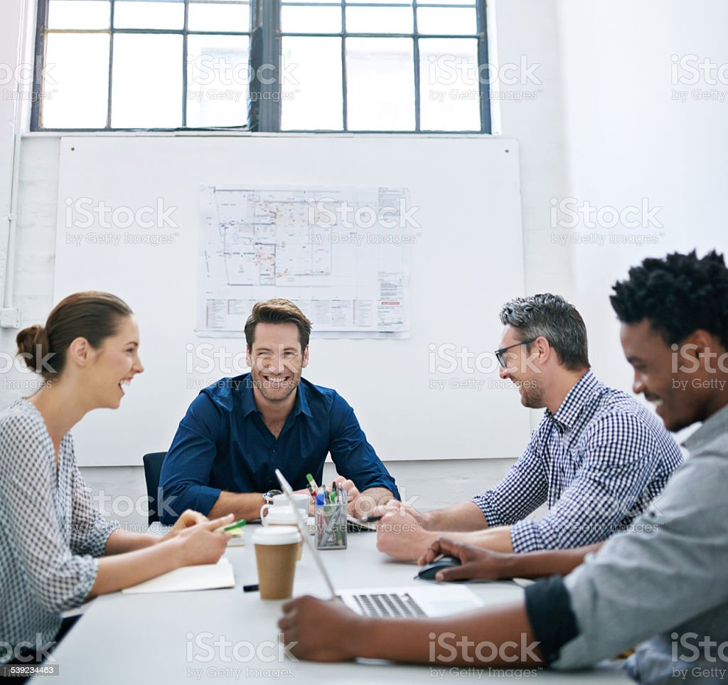 Their meeting is going great royalty-free stock photo