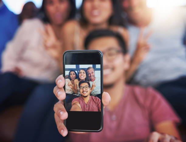 their selfie game is strong - photo messaging stock photos and pictures