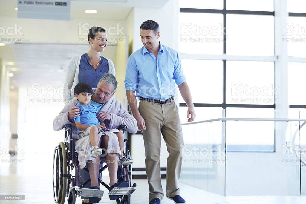 Their visits help speed up his recovery royalty-free stock photo