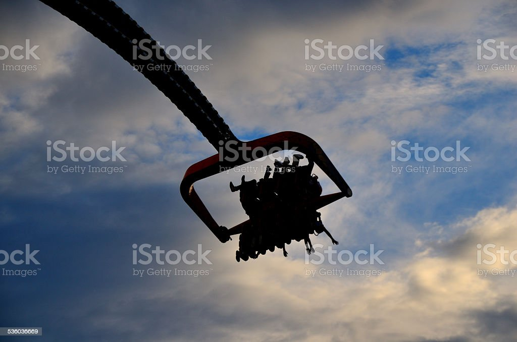 theme park with people in the air stock photo