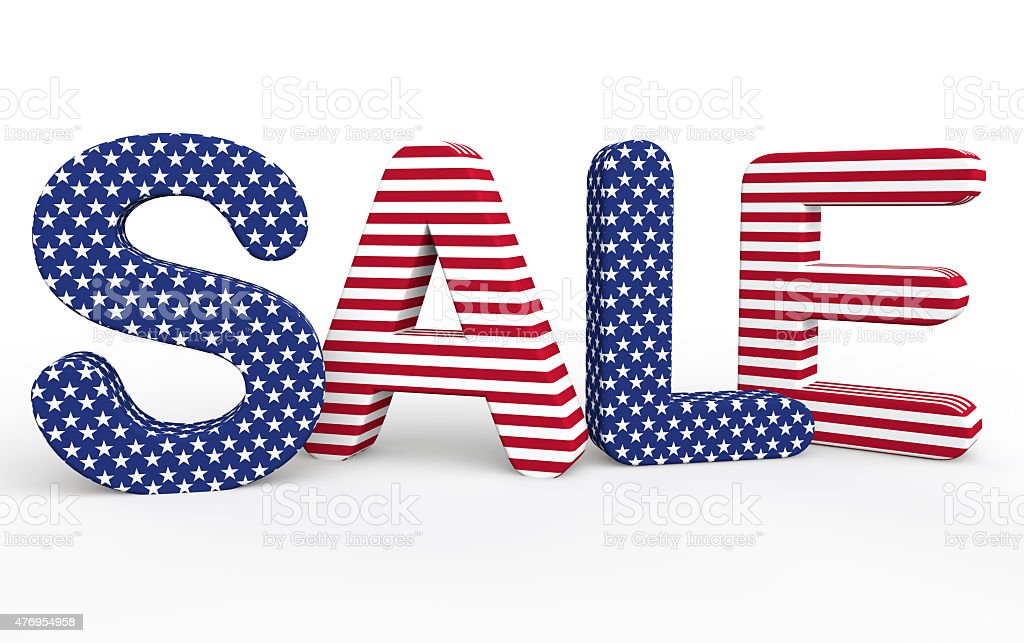 USA themed 3d sale text stock photo