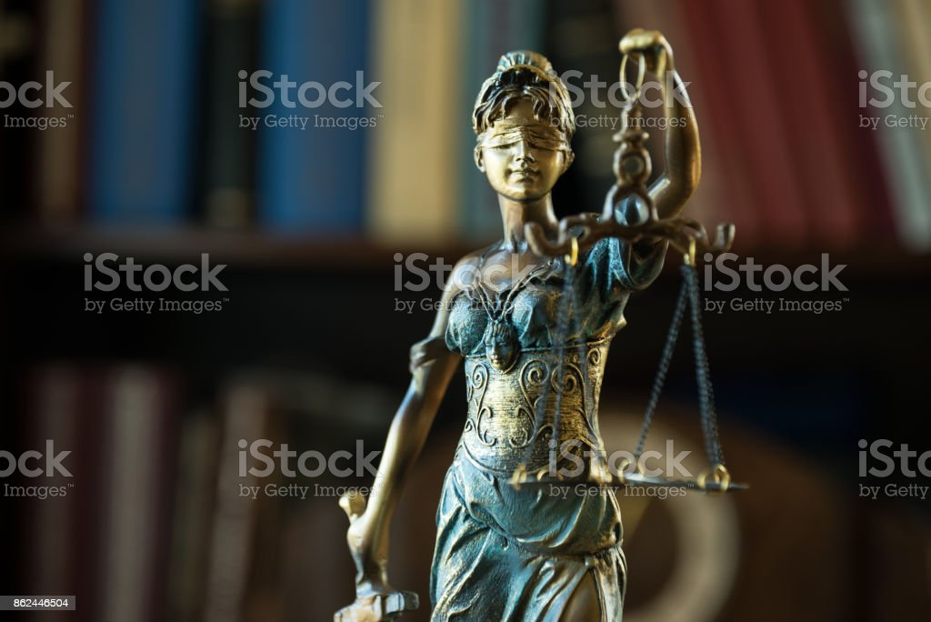 Themis figure in library stock photo