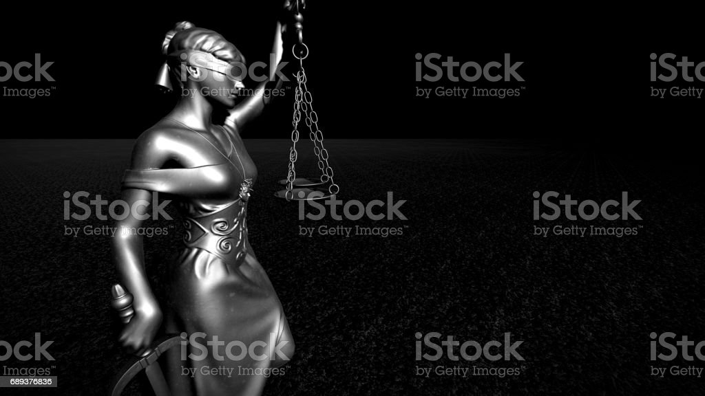Themis with scale and sword 3d rendering stock photo