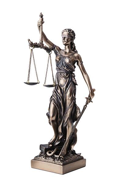 themis with scale and sword isolated on white - justitia bildbanksfoton och bilder