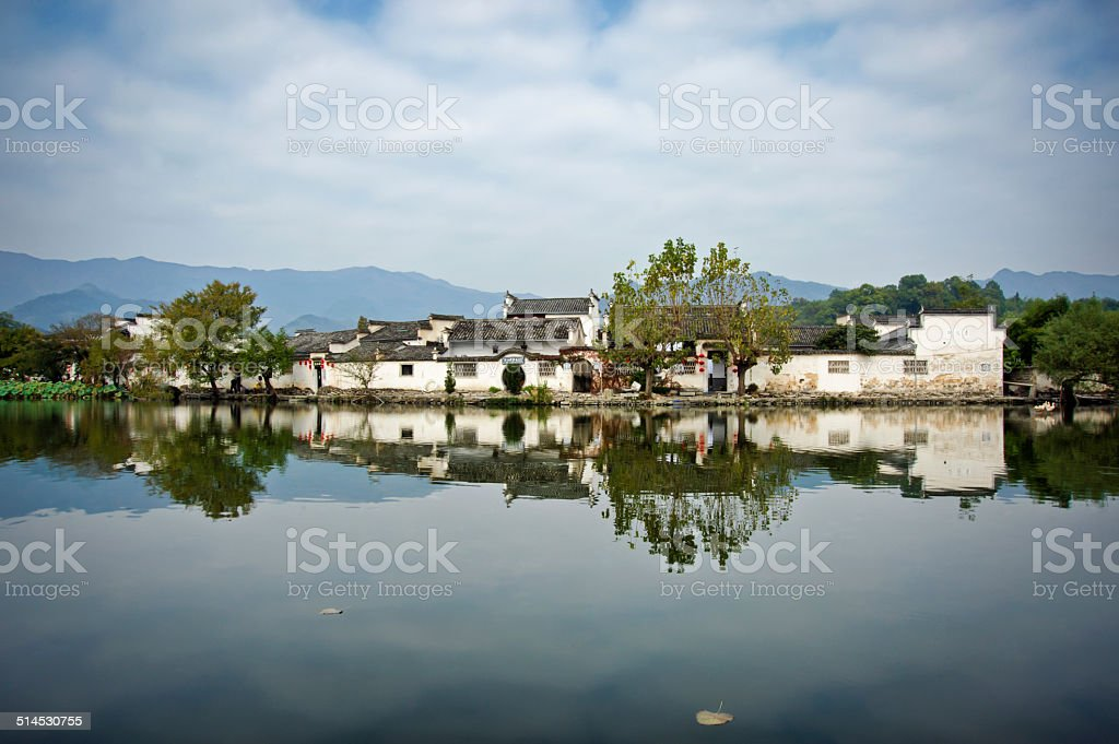 Then ancient Chinese city of Hongcun in Anhui province, China stock photo