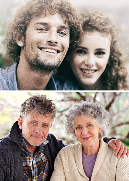 Then and now stock photo