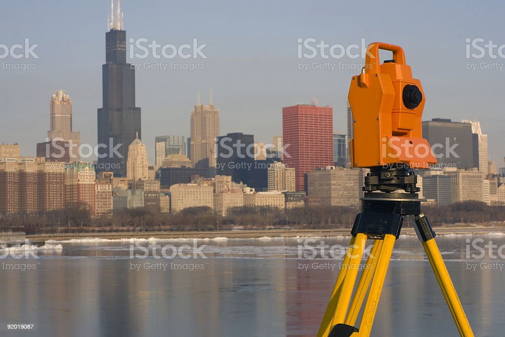 Theodolite set in downtown Chicago royalty-free stock photo