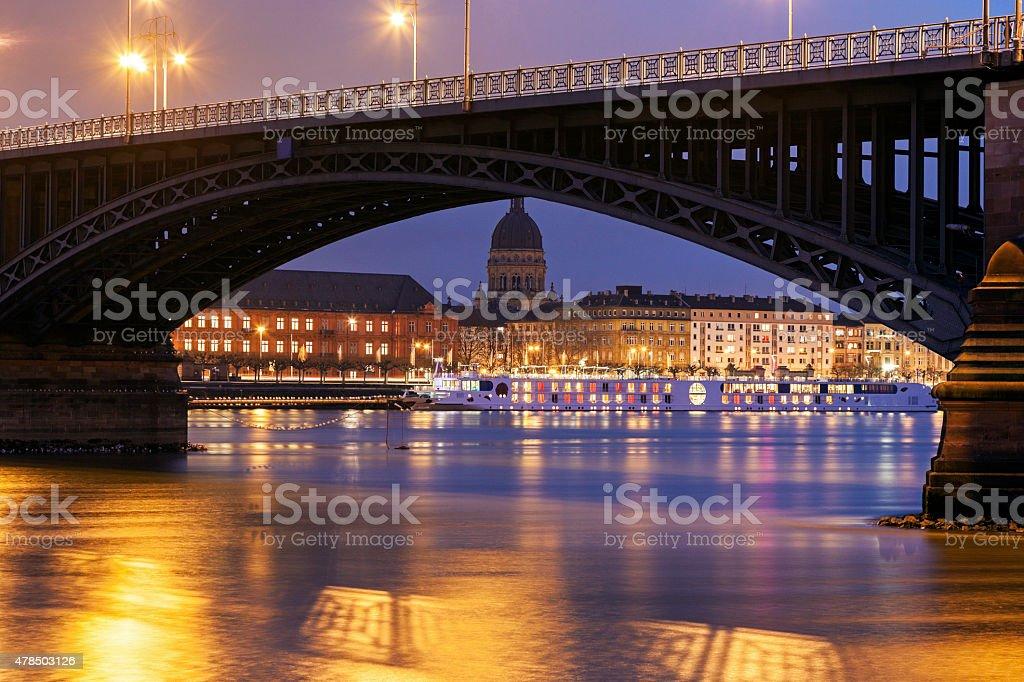 Theodor Heuss Bridge and Christuskirche stock photo