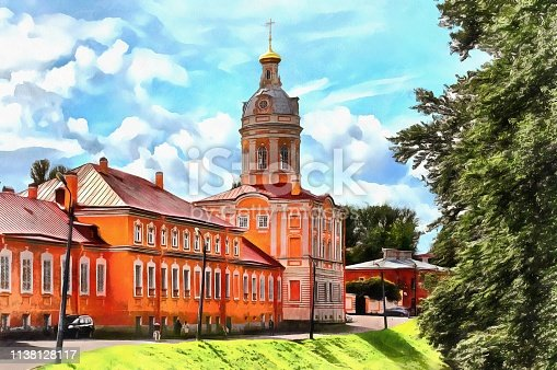 Theodore Church of the Alexander Nevsky Monastery in St. Petersburg in Russia. Digital watercolor painting.