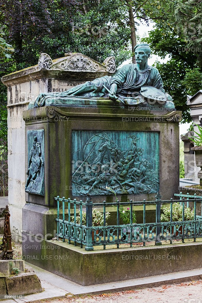 Theodore Gericault's grave in the Pere Lachaise cemetery, Paris, France stock photo