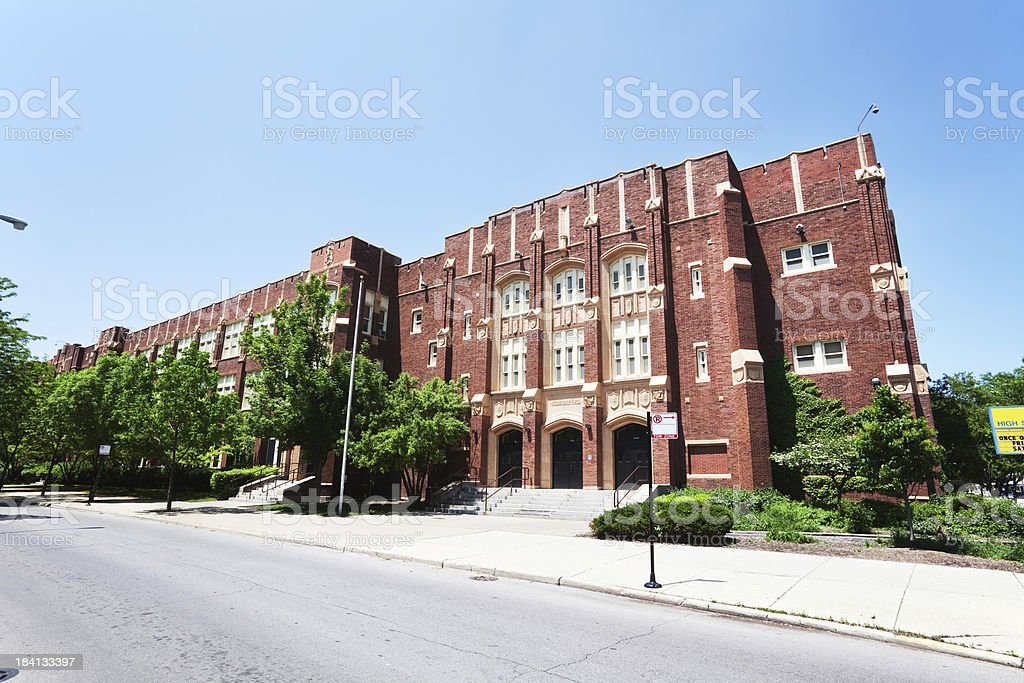 Theodore Roosevelt High School in Albany Park,  Chicago royalty-free stock photo