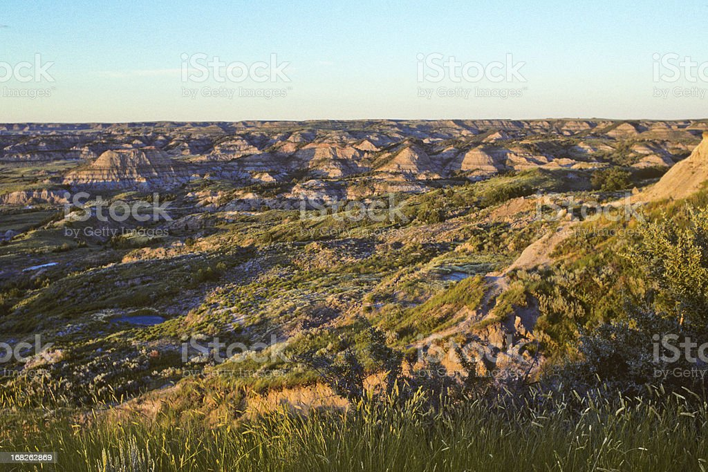The Badlands at Sunset stock photo