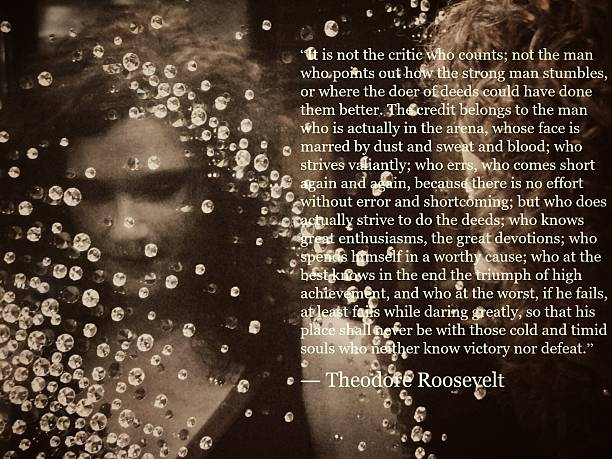 Theodore Roosevelt The Man in the Arena Quote, Female Reflection stock photo