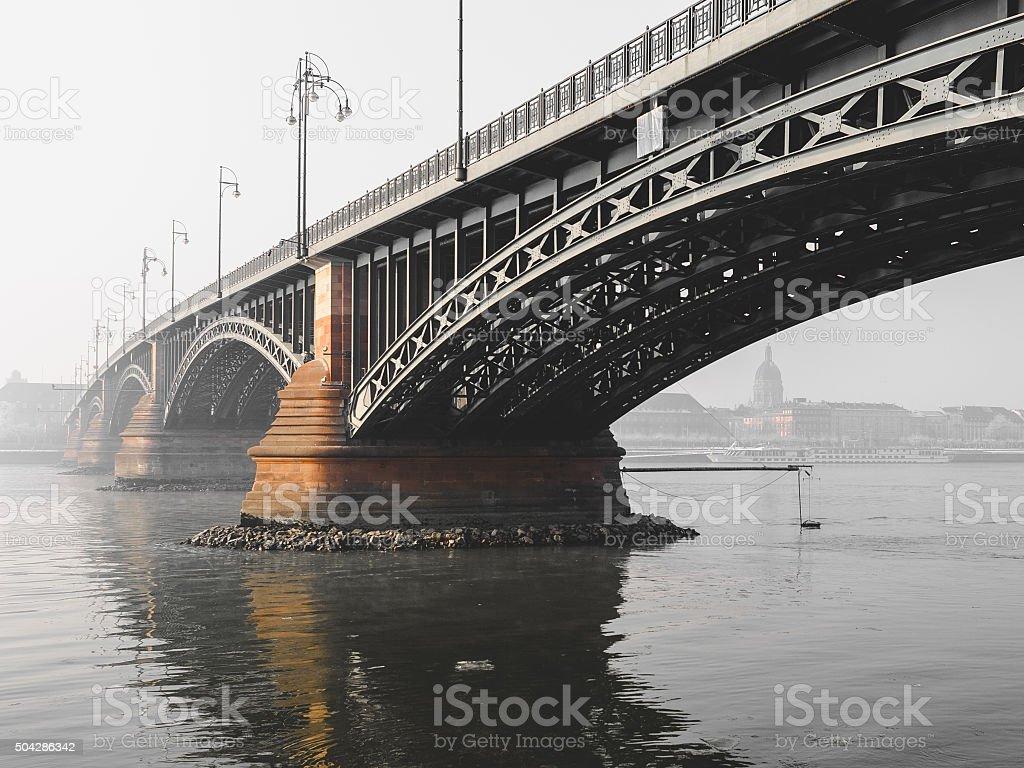 Theodor-Heuss-Bridge across the Rhine stock photo