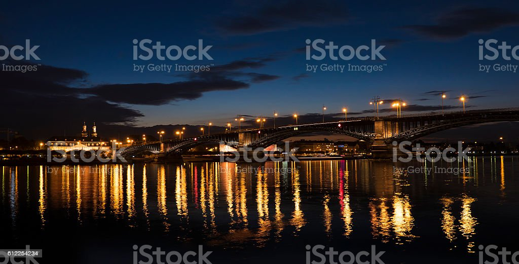 Theodor-Heuss-Bruecke bridge Mainz Germany illuminated stock photo
