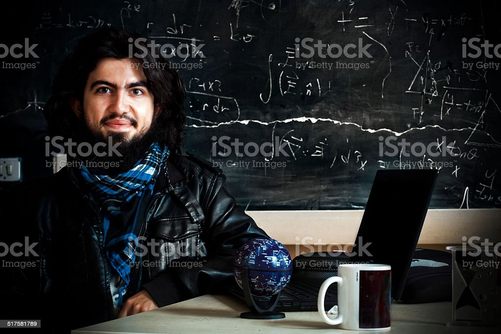Theoretical physicist at work stock photo