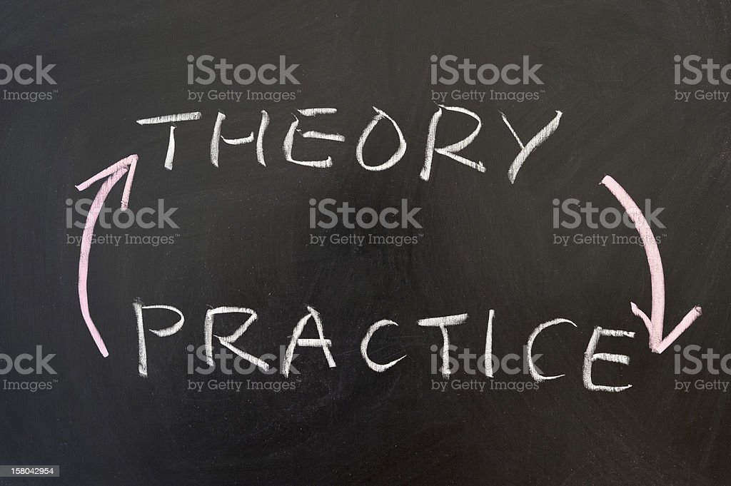 Theory and practice stock photo