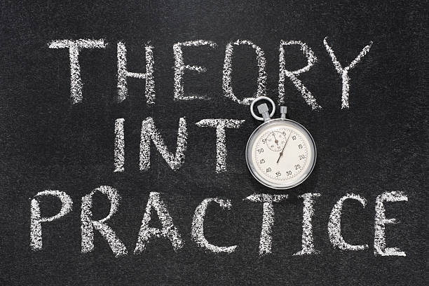 theory into practice theory into practice phrase handwritten on chalkboard with vintage precise stopwatch used instead of O practicing stock pictures, royalty-free photos & images