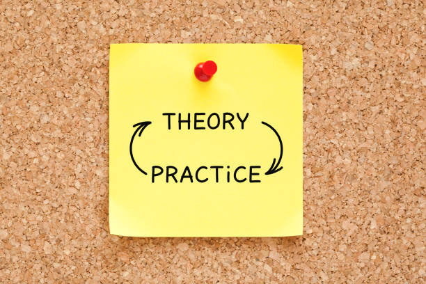 Theory Practice Arrows Concept On Sticky Note Theory Practice arrows concept written on yellow sticky note pinned on bulletin cork board. practicing stock pictures, royalty-free photos & images