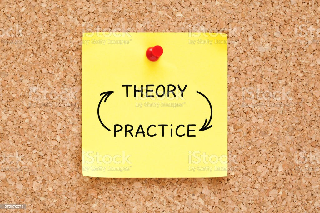 Theory Practice Arrows Concept On Sticky Note stock photo