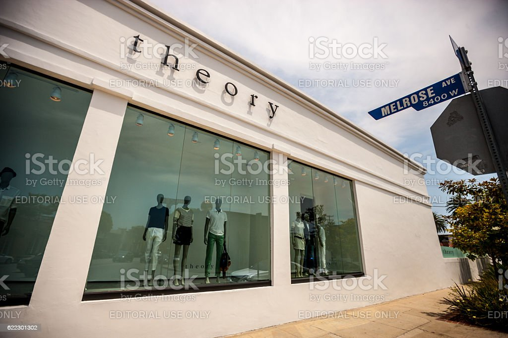 Theory Store on Melrose Avenue, Los Angeles, USA stock photo