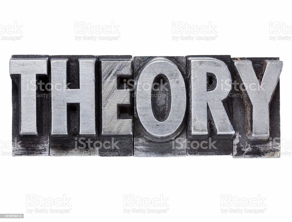 theory word in metal type royalty-free stock photo