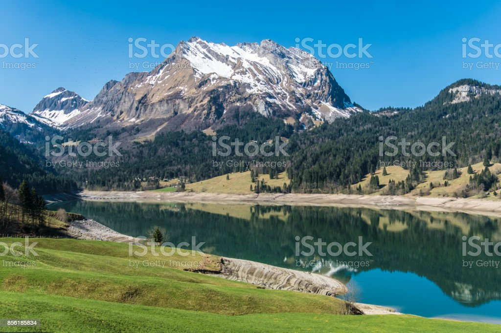 Ther snow capped mountain peaks in the spring in the Wägital valley ,Schwyz, Switzerland stock photo