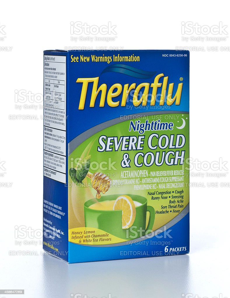 Theraflu Nighttime Severe Cold and Cough royalty-free stock photo