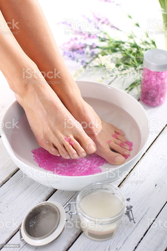 Therapeutic foot bath stock photo