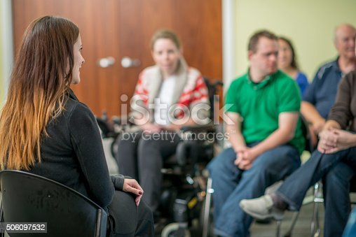 istock Therapist Leading a Adult Discussion 506097532