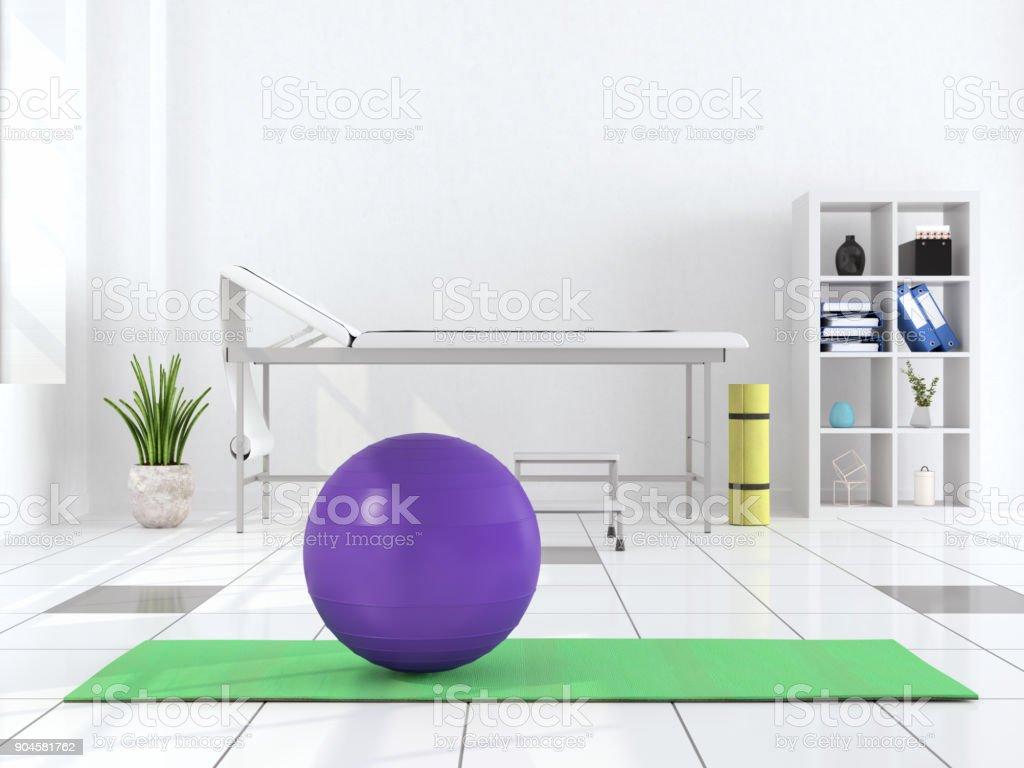 Therapeuten arbeiten auf Erholung mit Gymnastikball – Foto