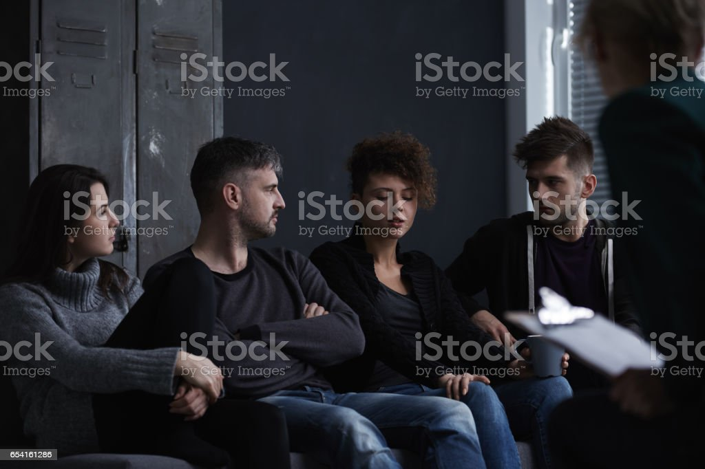 Therapy for addiction treatment stock photo