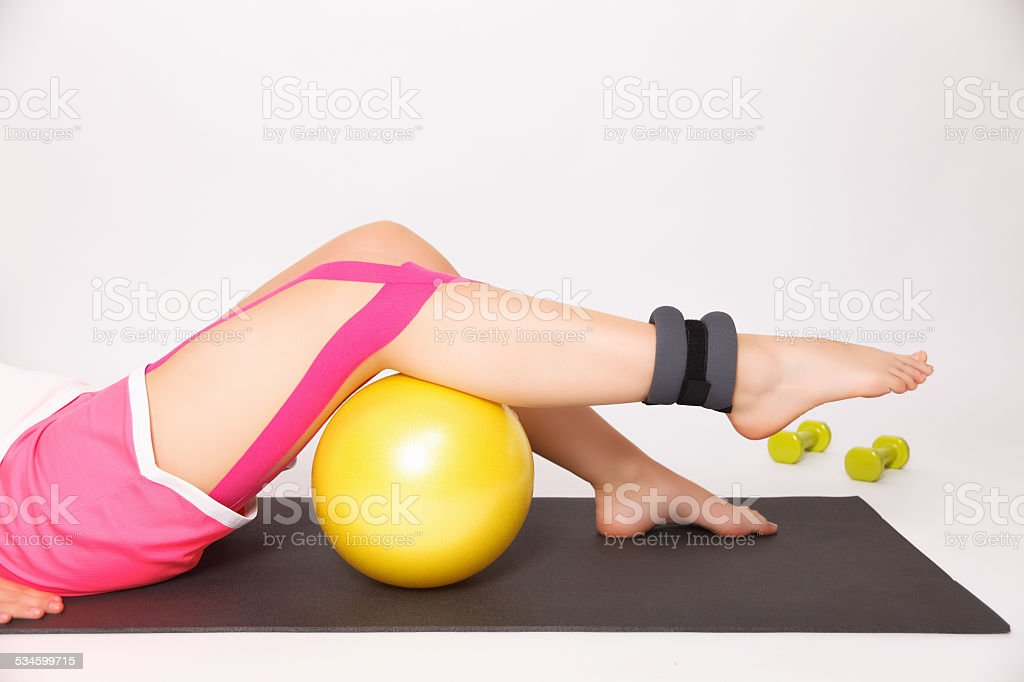 Therapy for injured leg stock photo