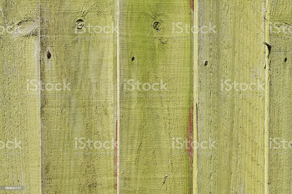 Lichen-covered green fence with grain in sunlight royalty-free stock photo