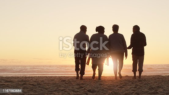 Full length shot of a group of friends enjoying a day out and walking along the beach together