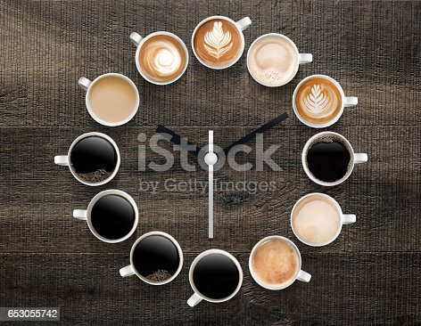 symbolic clock showing different types of coffee for each time of the day