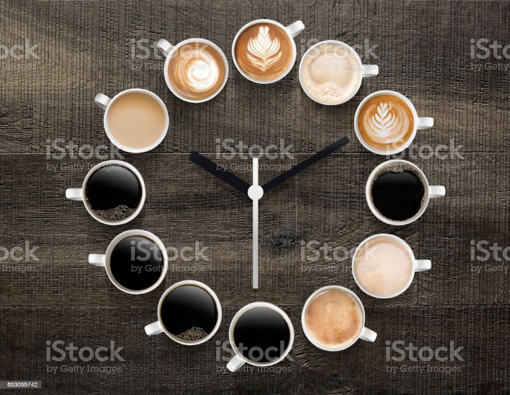 there is a certain type of  coffee for each time of the day stock photo