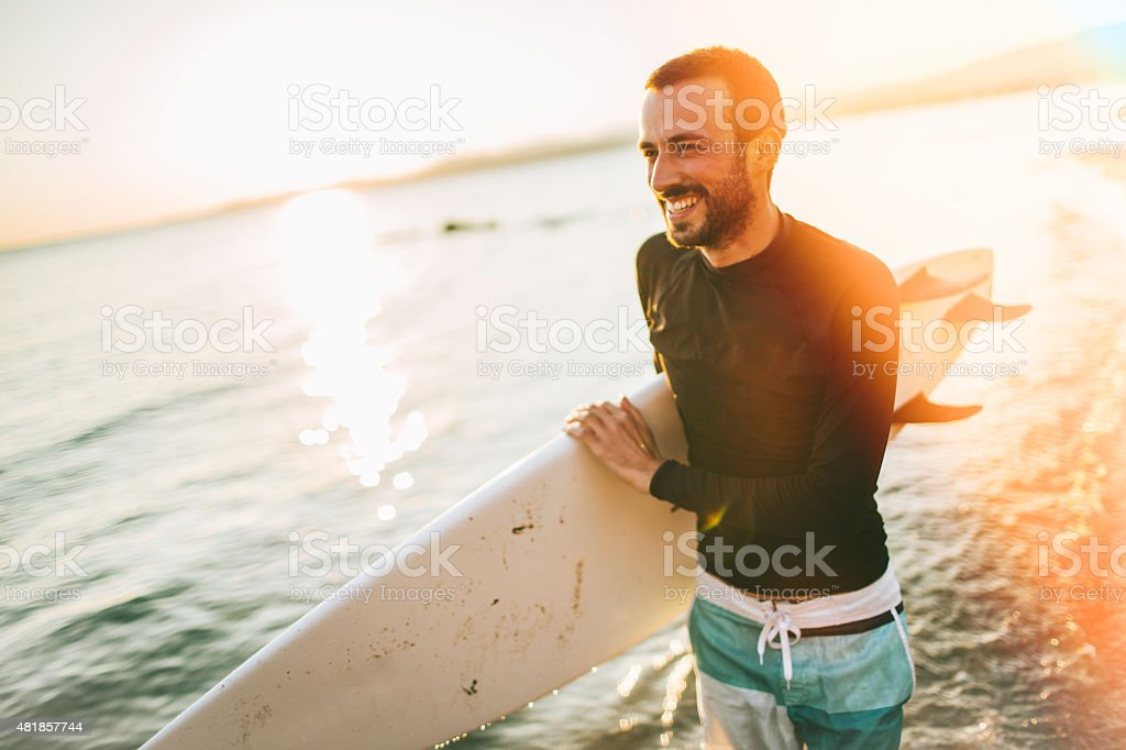 There is a good wave! stock photo