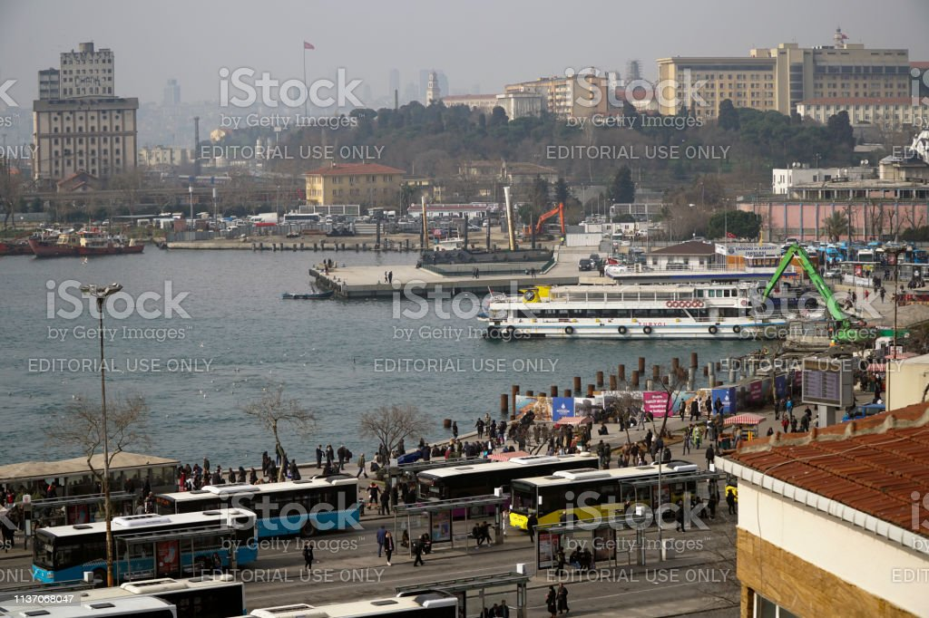There is a major construction in the costline of the Kadikoy District stock photo