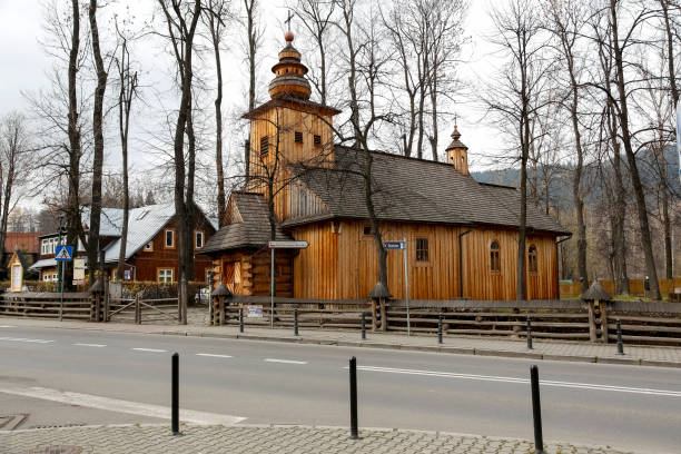 There is an old wooden church in Zakopane. Zakopane, due to its attractive location in the immediate vicinity of the Tatra Mountains is a city that is often and willingly visited by tourists