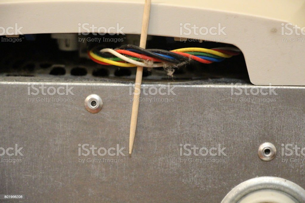 There is dust around cables of a desktop computer stock photo