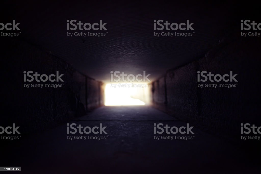 There is light at the end of the tunnel stock photo